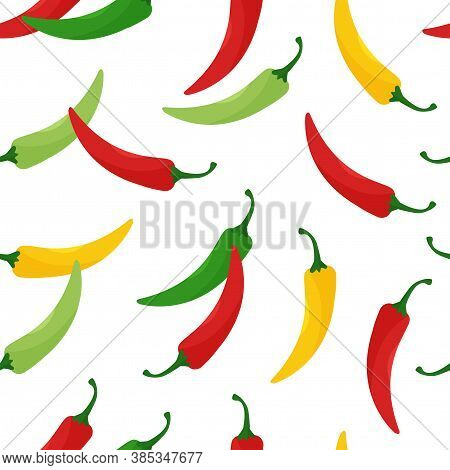 Seamless Pattern With Hot Chili Peppers, Jalapeno Vegetables, Background With Cayenne Pepper Red, Gr
