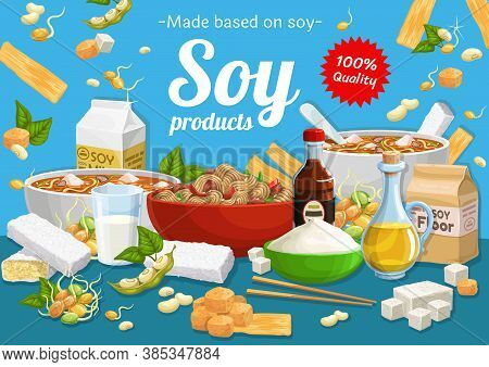 Soy Products And Soybean Food. Vector Miso Soup , Tofu Cheese And Milk, Oil, Meat Or Skin And Sprout