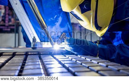 Welder Working In A Steel Factory With Argon Welding