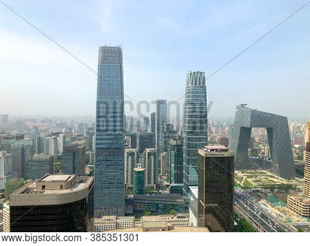 Towers In Central Business District Of Beijing With Citic Tower Super Tall Skyscraper On Background