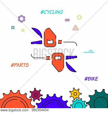 Bicycle Trigger Shifters Filled Line Vector Icon, Simple Illustration, Related Bottom Border.