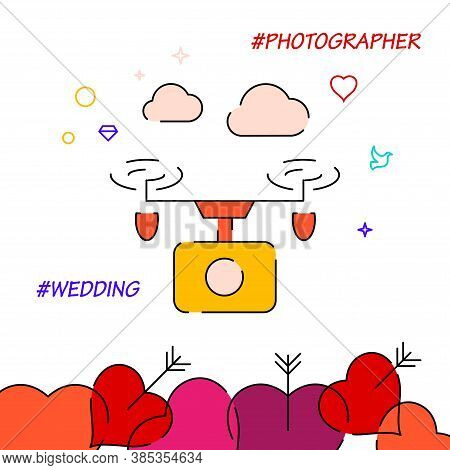 Wedding Drone Footage Filled Line Vector Icon, Simple Illustration, Wedding Related Bottom Border.
