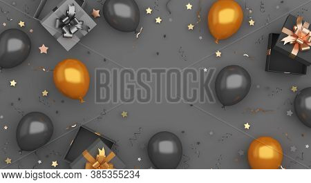 Black Friday Sale Decoration Background With Gift Box, Confetti, Gold Balloon, Copy Space Text, Blac