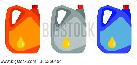 Car Oil Canister Icon In Flat Style. Stable Machine Engine Operation. Car Maintenance And Seasonal O