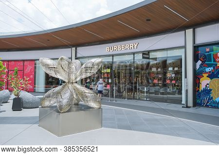 Samut Prakan, Thailand - July 28, 2020: Burberry Shop In Siam Premium Outlets Bangkok. Burberry Is A