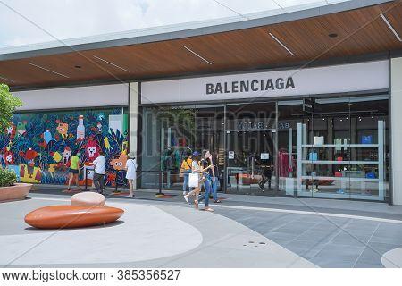 Samut Prakan, Thailand - July 28, 2020: Balenciaga Shop In Siam Premium Outlets Bangkok. Balenciaga
