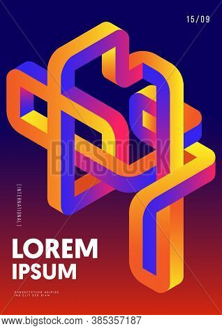 Abstract Gradient Isometric Geometric Shape Design Template Poster Background Modern Art Style. Desi