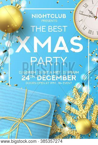 Christmas Party Poster Invitation. Holiday Background With Realistic Blue Gift Box, Gold Snowflake A