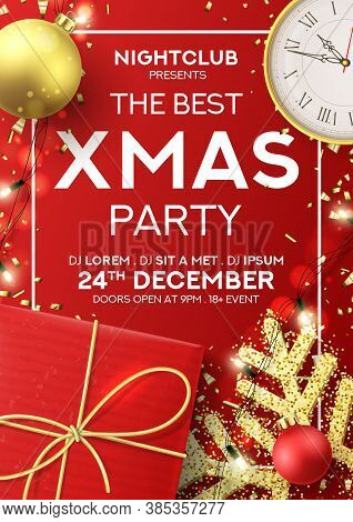 Christmas Party Flyer Invitation. Holiday Background With Realistic Red Gift Box, Gold Snowflake And