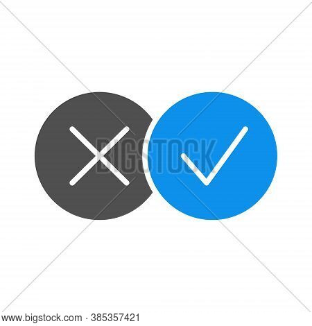 Correct And Incorrect Checkmarks Colored Icon. Right And Wrong Tick Symbol