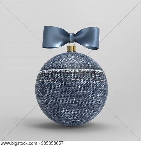 Christmas Jeans Ball With Denim Bow Isolated On A Grey Background, 3d Render. Christmas Bauble With