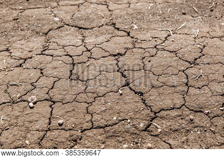 Dried Cracked Earth Soil Ground Texture Background. Mosaic Pattern Of Dried Earth Soil. Example Of C