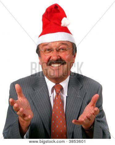 Senior Businessman As Santa