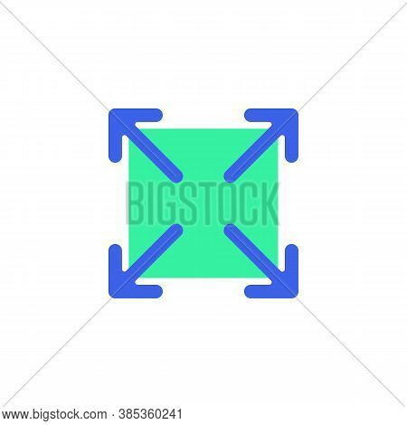 Full Screen Arrows Icon Vector, Filled Flat Sign, Maximize Expand Bicolor Pictogram, Green And Blue