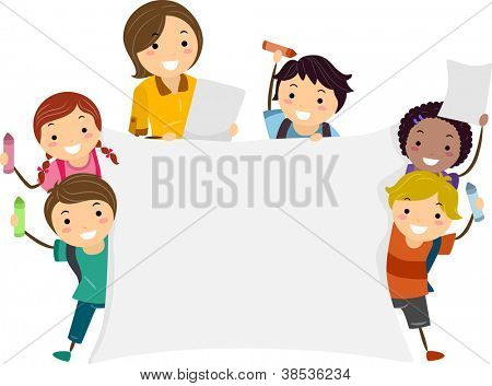 Illustration of Kids Holding a Large Banner with One Hand and a Crayon with the Other