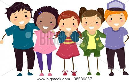 Illustration of a Group of Boys and Girls Huddled Together