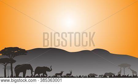 Full Frame Silhouette Family Of Elephant Rhinoceros Deer And Giraffes In The Grassland On The Multic