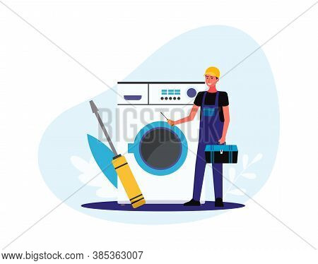 Tiny Repairman Or Home Appliances Technician Flat Vector Illustration Isolated.