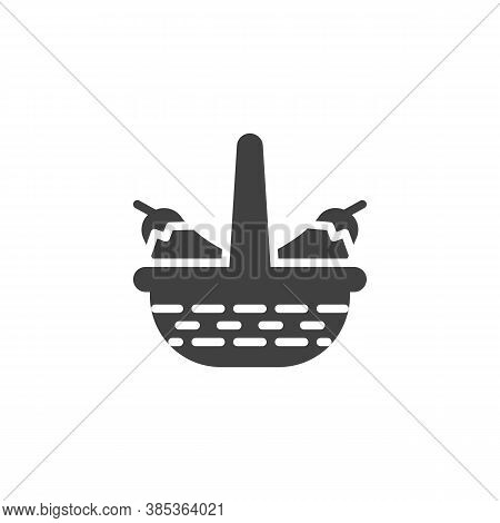 Eggplant Basket Vector Icon. Filled Flat Sign For Mobile Concept And Web Design. Wicker Basket With