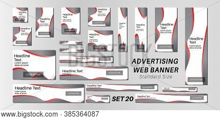 Web Banner Standard Size, Abstract Vector Background For Advertising.