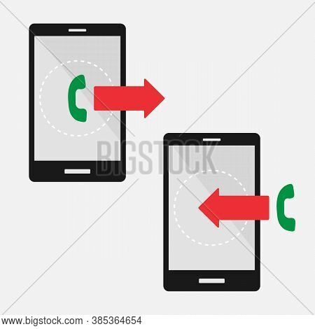 Incoming And Outgoing Calls. Phones With Incoming And Outgoing Call Vector Sign