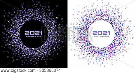 New Year 2021 Night Background Party Set. Greeting Cards. Violet Glitter Paper Confetti. Glistening