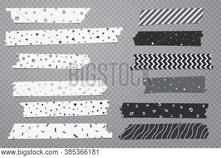 Set Of White And Grey Different Size Adhesive, Sticky, Masking, Duct Tape With Geometric Pattern Are