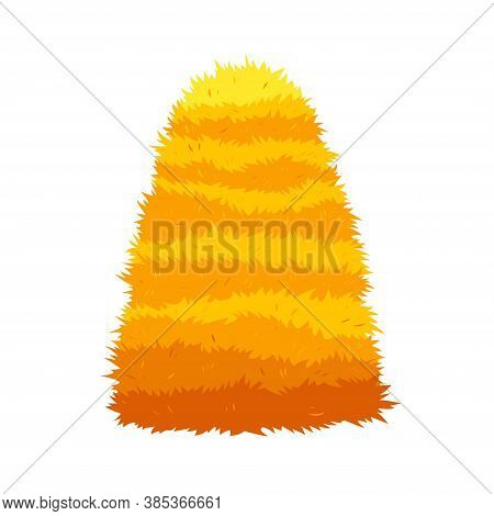 Haystack Isolated On White Background. Flat Vector Illustration Dried Haystack. Farming Haymow Bale