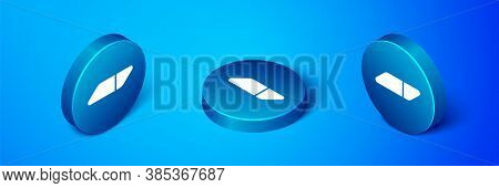 Isometric Eraser Or Rubber Icon Isolated On Blue Background. Blue Circle Button. Vector Illustration