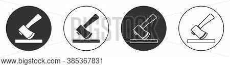 Black Wooden Axe Icon Isolated On White Background. Lumberjack Axe. Circle Button. Vector Illustrati