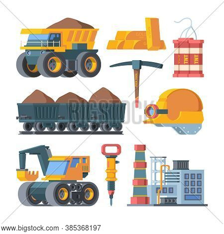 Quarry Mine Equipment Set. Smelted Gold Ingots Block Tnt Explosive Excavator Mining And Ore Processi
