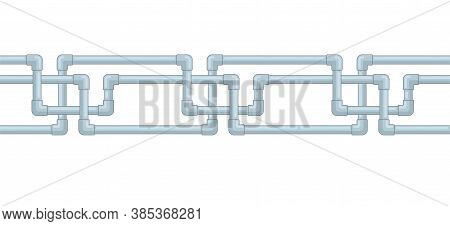 Water Pipe Plumbing Seamless Repeatable Pattern With Joints Of Plastic Pipes - Plumb Engineering Ser