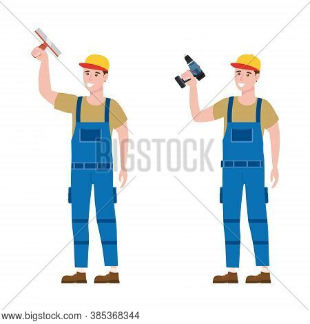 Set Construction Workers With Cordless Screwdriver, Plastering Trowel Tools In Workwear. Craftsman C