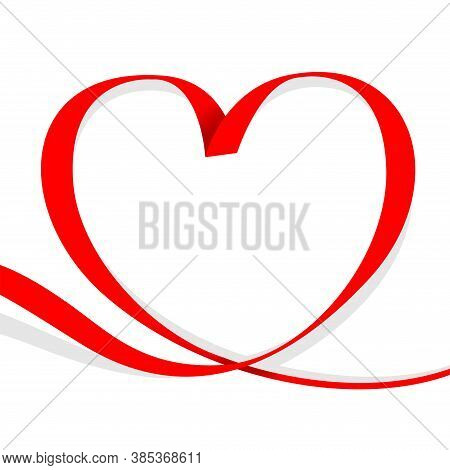 Ribbon Red Heart Shape Isolated On White, Ribbon Line Red Heart-shaped, Heart Shape Ribbon Stripes R
