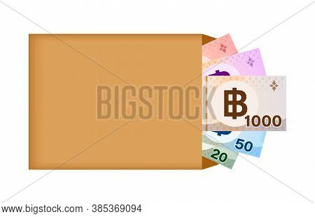 Thai Baht Banknote Money In Bag Paper Isolated On White, Thai Currency Banknote Thb Many In The Bag