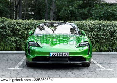Kyiv, Ukraine - September 6th, 2020: New Electric Zero Emission Sportcar Porsche Taycan Turbo In Mam