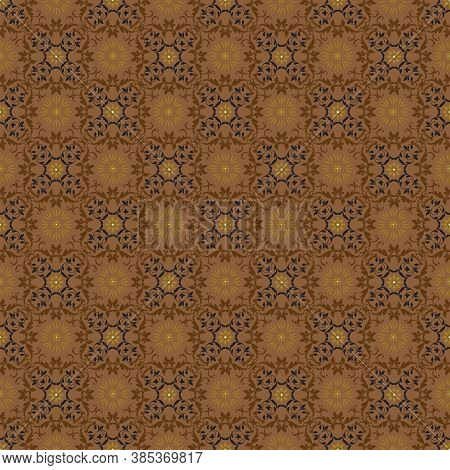 Vintage Flower Pattern On Solo Batik With Smooth Dark Brown Color Design.
