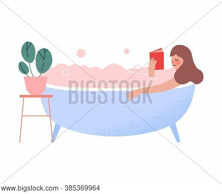Young Woman Lying In Bathtub Full Of Soap Foam And Reading Book, Person Relaxing, Reducing And Manag