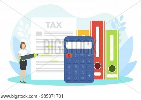 Tiny Female Financial Accountant Filling Tax Report, Financial Consultant Character Declaring An Inc