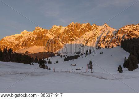 The Saentis Massif In Evening Light, Winter Landscape, Canton Appenzell-ausserrhoden, Switzerland