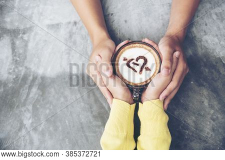 Couple Lover Having Date And Drinking A Cup Of Coffee Together. Happy Relation On Cafe. Coffee Lover