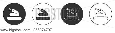 Black Snake Icon Isolated On White Background. Circle Button. Vector