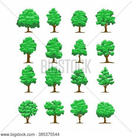Set Of Tree Vector. Tree In Green Color. Tree Icon Vector. Tree Logo. Tree Silhouette Vector. Tree V