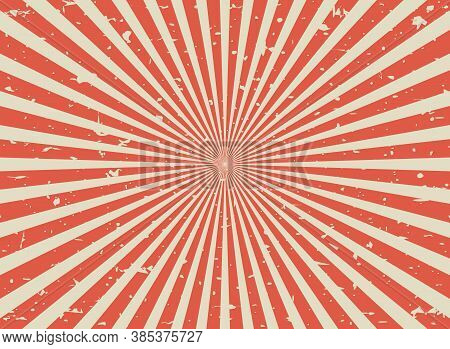 Sunlight Retro Faded Grunge Background. Red And Beige Color Burst Background. Vector Illustration.