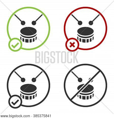 Black Drum With Drum Sticks Icon Isolated On White Background. Music Sign. Musical Instrument Symbol