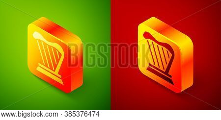 Isometric Harp Icon Isolated On Green And Red Background. Classical Music Instrument, Orhestra Strin