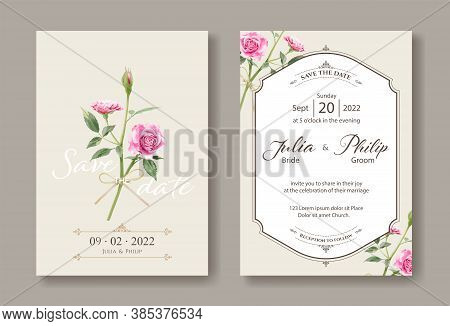 Set Of Vintage Wedding Cards, Save The Date Template. Pink Roses Image. Vector.