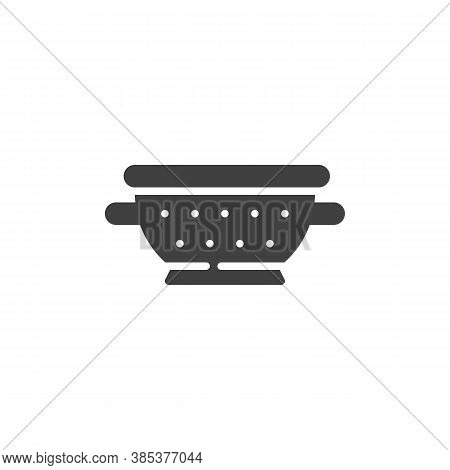 Colander Vector Icon. Filled Flat Sign For Mobile Concept And Web Design. Pasta Strainer Glyph Icon.
