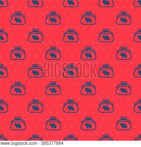 Blue Line Purse Money Percent Icon Isolated Seamless Pattern On Red Background. Percent Loyalty Wall