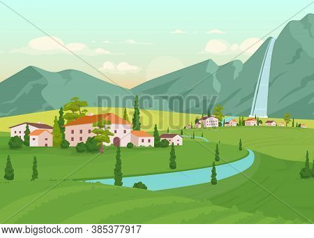 Tuscany Scenery Flat Color Vector Illustration. River Near Farmhouses. Residential Houses Near Mount